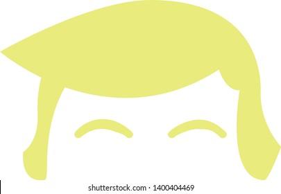 Donald Trump Haircut Flat Design in Cartoon Fun Style Vector Illustration