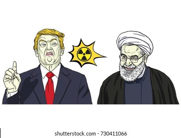 Donald Trump and Hassan Rouhani. Vector Cartoon Caricature Portrait Illustration. October 9, 2017