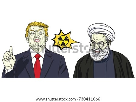 ab30e736b Donald Trump and Hassan Rouhani. Vector Cartoon Caricature Portrait  Illustration. October 9