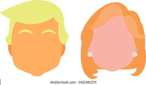 Donald Trump and Hillary Clinton Vector Icons in Flat Design Style