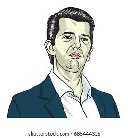 Donald Trump Jr Cartoon Vector Illustration. July 28, 2017