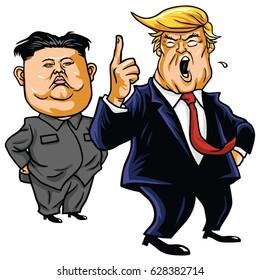 Donald Trump with Kim Jong-un Cartoon Vector. April 26, 2017