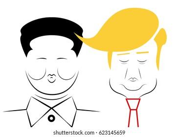 Donald Trump and Kim Jong-un. President of USA and Supreme leader of North Korea