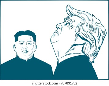 Donald Trump and Kim Jong-un. Vector Portrait Drawing Illustration. January 6, 2018