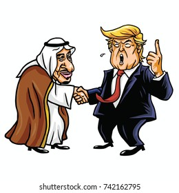 Donald Trump with King Salman. Editorial Cartoon Caricature Illustration. October 26, 2017