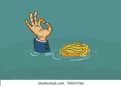 "Donald Trump making an ""OK"" hand sign while drowning in the flood. Vector / Illustration / Cartoon"