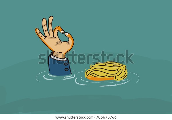 """Donald Trump making an """"OK"""" hand sign while drowning in the flood. Vector / Illustration / Cartoon"""