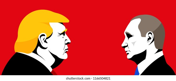 Donald Trump opposite Vladimir Putin. President of Russia. President of the U.S.A. Editorial vector illustration.