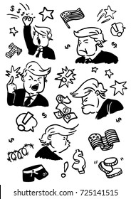 Donald Trump pattern cartoon black white