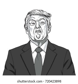 Donald Trump Portrait. Black and White Caricature Illustration Vector. September 23, 2017