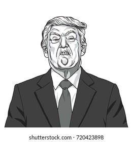 Donald Trump Portrait. Black and White Caricature Illustration Vector. September 23, 2017