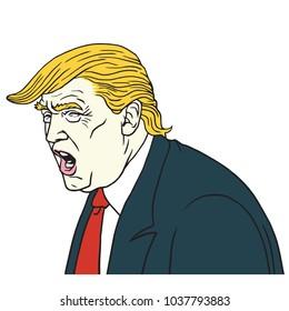 Donald Trump portrait. Vector Cartoon Caricature Illustration. March 4, 2018