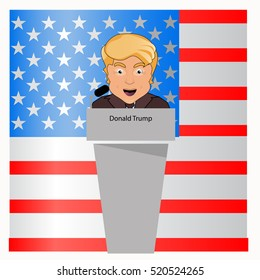 donald trump the president a smile behind an interview tribune in the microphone. . Fight success. Vector illustration. Against the background of blue white red the American flag