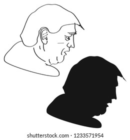 Donald Trump profile outline silhouette
