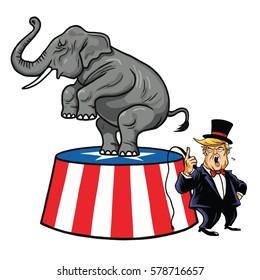 Donald Trump and Republican Elephant. Cartoon, Caricature Vector Illustration. February 14, 2017