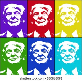 Donald Trump, republican presidential candidate. Vector illustration.