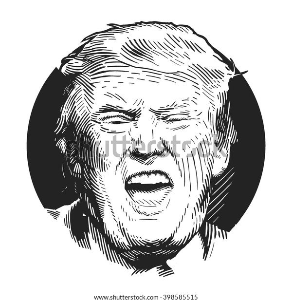Donald Trump, republican presidential candidate. Los Angeles, California, United States, December 16, 2015. Sketch by hand. Vector illustration