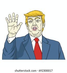 Donald Trump Says, Talk to My Hand. Cartoon Vector Illustration. August 8, 2017