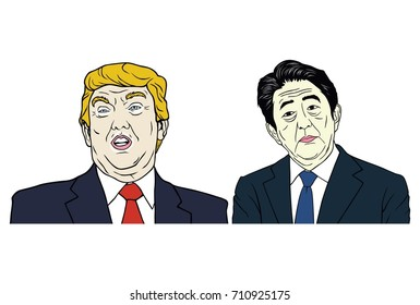 Donald Trump and Shinzo Abe Portrait, Flat Design Vector Illustration, September 7, 2017