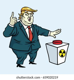 Donald Trump Shouting and Ready to Push the Red Button. Cartoon Vector Illustration Drawing. June 13, 2017