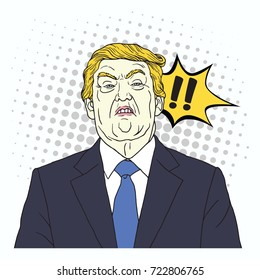 Donald Trump Shouting. Vector Pop Art Comics Style Illustration. September 27, 2017
