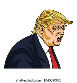 Donald Trump Shouting You're Fired!. Vector Cartoon Caricature. March 7, 2018