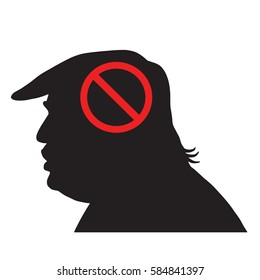Donald Trump Silhouette With Anti Sign. Vector Icon Illustration. February 22, 2017