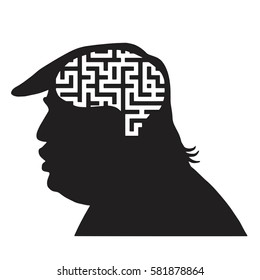 Donald Trump Silhouette and Maze Icon. Vector Illustration. New York, February 18, 2017