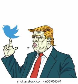 Donald Trump and Social Media Communication. Vector Cartoon. June 10, 2017
