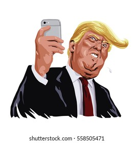 Donald Trump and Social Media Vector Portrait Cartoon Caricature Illustration. January 17, 2017