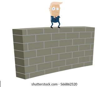 donald trump standing on top of a wall