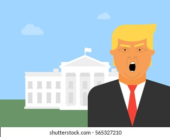 Donald Trump vector icon. Flat illustration of the President of the United States of America with the White House in the background.