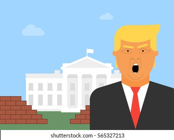 Donald Trump vector icon. Flat illustration of the President of the United States of America with the White House and a Brick Wall in the background.