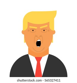 Donald Trump vector icon. Flat illustration of the President of the United States of America.