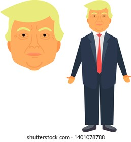 Donald Trump Vector Illustration Flat Design in Funny Cartoon Style (Face and Full Growth). Ready for Rigging Personage Character Animation.