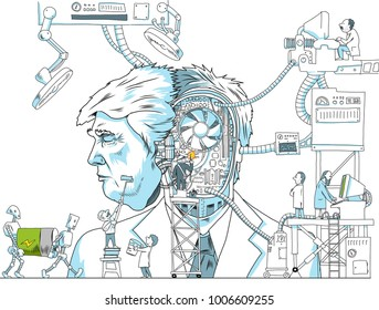 Donald Trump, vector illustration. January, 21, 2018. Trump is like a robot