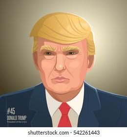 Donald Trump. Vector illustration of Donald Trump portrait, president of the USA.