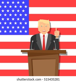 Donald Trump vector illustration. President USA 2016. Vector character. Interview. Election USA 2016