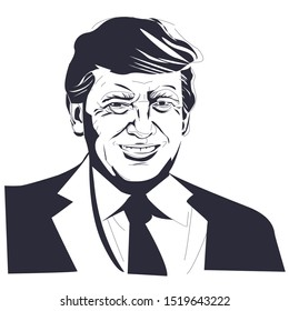 Donald Trump vector portrait. 2020 United States presidential election. Republican Party