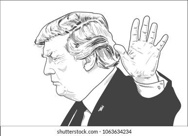 Donald Trump. Vector Portrait Drawing Illustration. April 08, 2018