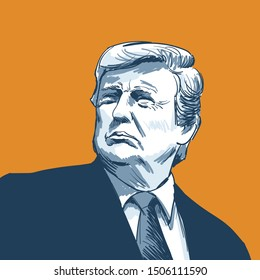 Donald Trump. Vector Portrait Drawing Illustration. Swptember 16, 2019