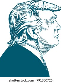 Donald Trump. Vector Portrait Drawing Illustration. January 12, 2018