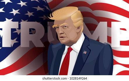 Donald Trump Vector portrait. USA President Donald Trump on national flag background. Wary Trump.
