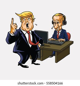 Donald Trump And Vladimir Putin in Front of His Computer. Vector Cartoon Portrait. January 17, 2017