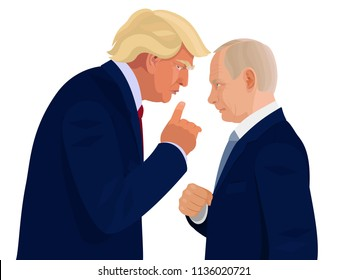 Donald Trump and Vladimir Putin. Meeting of the presidents of America and Russia. Cartoon editorial portraits of two political leaders. Caricature poster about tete-a-tete conversation in Helsinki.