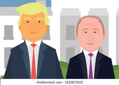 Donald Trump and Vladimir Putin meeting in USA White House Background. Putin and Trump Vector Flat Design Cartoon Style.