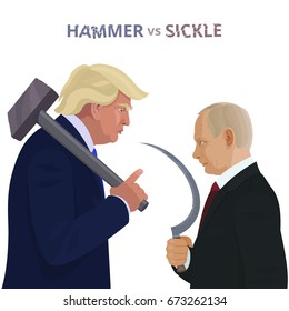 Donald Trump and Vladimir Putin. Meeting of the presidents of America and Russia. Cartoon portraits of international political leaders. Caricature poster with conceptual inscription Hammer vs Sickle.