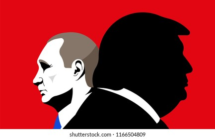 Donald Trump with Vladimir Putin. President of Russia. President of the U.S.A. Editorial vector illustration.