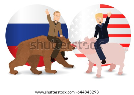 Donald Trump and Vladimir Putin are riding a pig and a bear. Against the  background 3515a88fea98