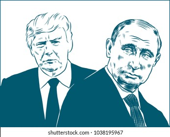 Donald Trump and Vladimir Putin. Vector Portrait Drawing Illustration. March 04, 2018